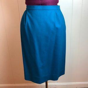 Vintage 80s/90s Teal Wool Career Pencil Skirt